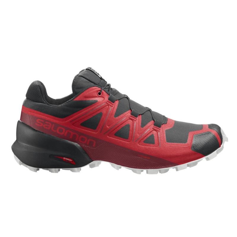 Pánská běžecká trailová obuv Salomon-Speedcross 5 goji berry / white / black 41 1/3 Červená