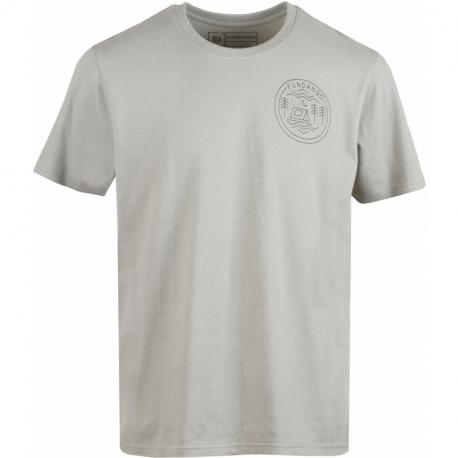 Pánske turistické tričko s krátkym rukávom FUNDANGO-Basic T Logo 1-535-light khaky