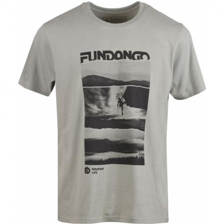 Pánské turistické tričko s krátkým rukávem FUNDANGO-Basic T Logo 3-535-light khaky