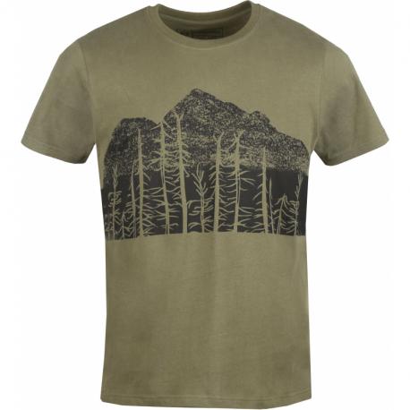 Pánské turistické tričko s krátkým rukávem FUNDANGO-Basic T Logo 5-540-army
