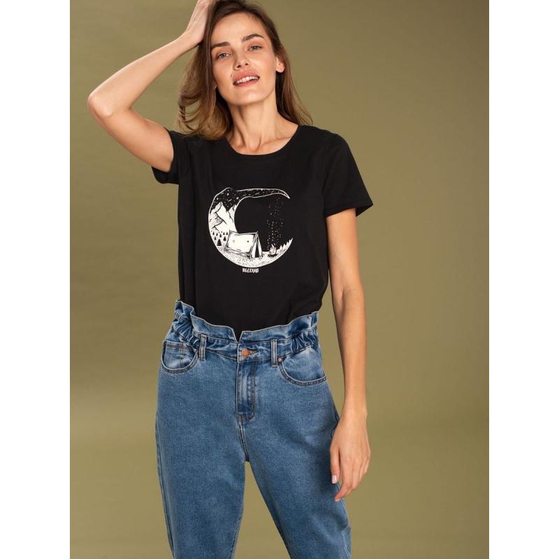 Dámske turistické tričko s krátkym rukávom VOLCANO-T-MOONFUEL-Black -