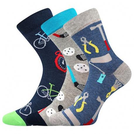 Chlapecké ponožky BOMA-057-21-43 X-Blue dark / Blue / Grey