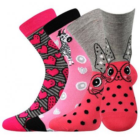 Dívčí ponožky BOMA-057-21-43 X-Pink / Love / Grey