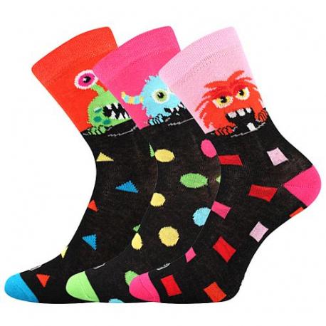 Dívčí ponožky vedlejším rámečku-Ufonek-Black-orange / Magenta / Pink