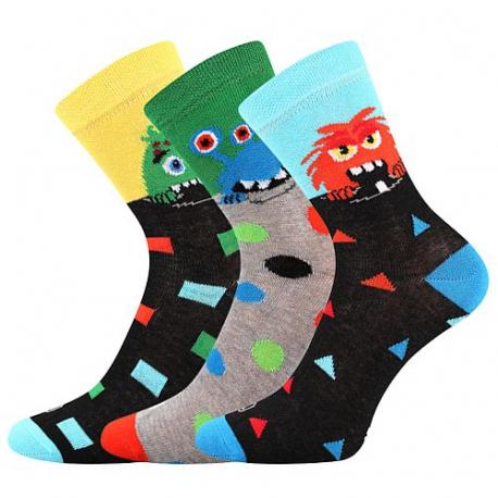 Chlapecké ponožky vedlejším rámečku-Ufonek-Black-yellow / Green / Blue