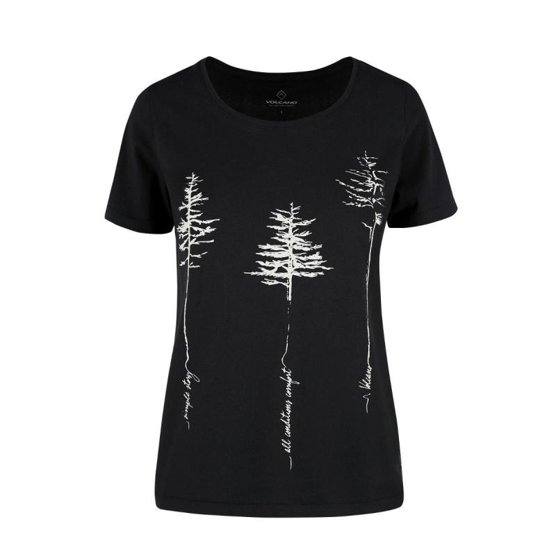 Dámske turistické tričko s krátkym rukávom VOLCANO-T-REES-Black Čierna M