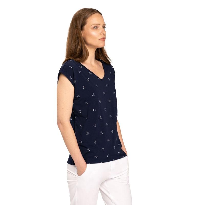 Dámske tričko s krátkym rukávom V-golier VOLCANO-T-FOLK-NAVY -