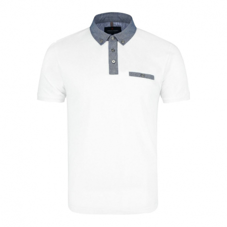 Pánské polo tričko s krátkým rukávem VOLCANO-T-GARRY-WHITE
