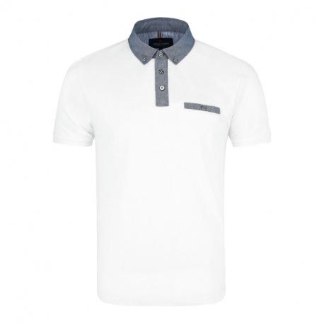 Pánske polo tričko s krátkym rukávom VOLCANO-T-GARRY-WHITE