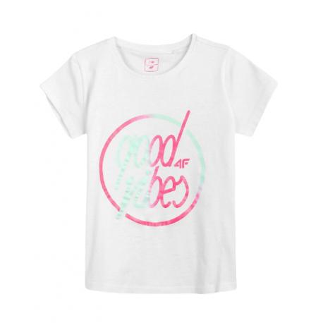 Dívčí tričko s krátkým rukávem 4F-GIRLS-t-shirt-HJL21-JTSD010-10S-White