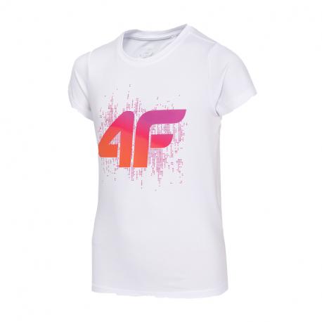 Dievčenské tréningové tričko s krátkym rukávom 4F-GIRLS T-SHIRT-HJZ20-JTSD010-10S-WHITE