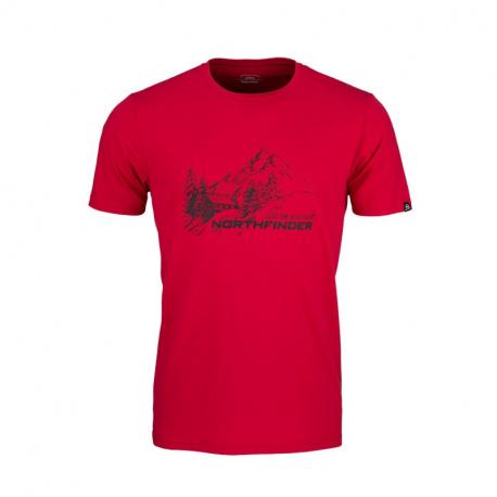 Pánské turistické tričko s krátkým rukávem NORTHFINDER-SHANE-360red