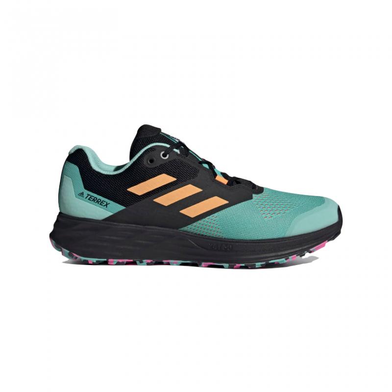 Pánska bežecká trailová obuv ADIDAS-Terrex Two Flow acid mint/hazy orange/screaming pink -