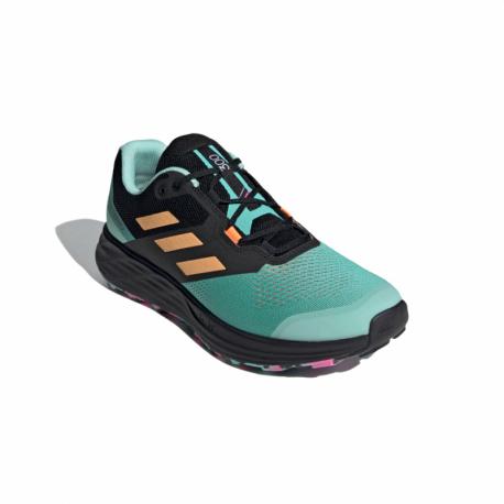 Pánská běžecká trailová obuv ADIDAS-Terrex Two Flow acid mint / Hazy orange / screaming pink (EX)
