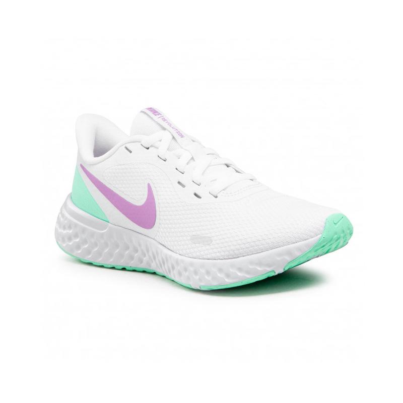 NIKE-Revolution 5 white/violet shock/green glow 38 Biela
