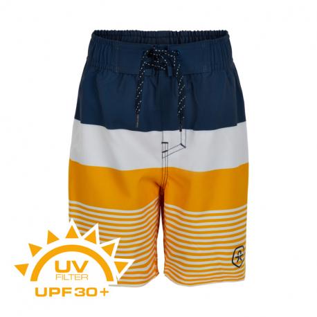 Chlapčenské plavky COLOR KIDS-Swim shorts stripes UPF 30+ Saffron