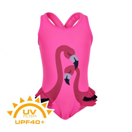 Dívčí plavky COLOR KIDS-Swimsuit w. animal UPF 40+ Sugar Pink
