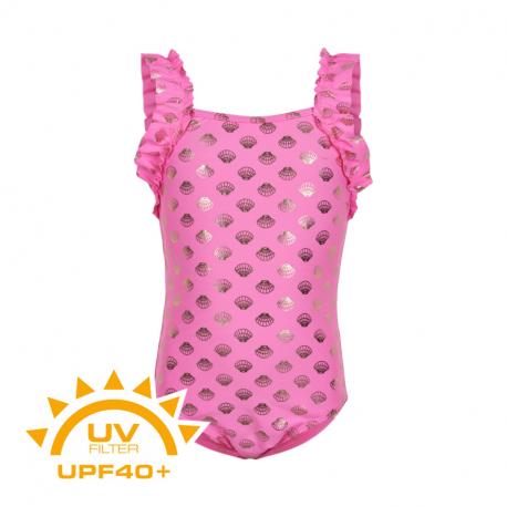 Dívčí plavky COLOR KIDS-Swimsuit w. Frills UPF 40+ Sugar Pink