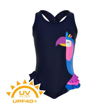 Dívčí plavky COLOR KIDS-Swimsuit w. animal UPF 40+ Dress Blues