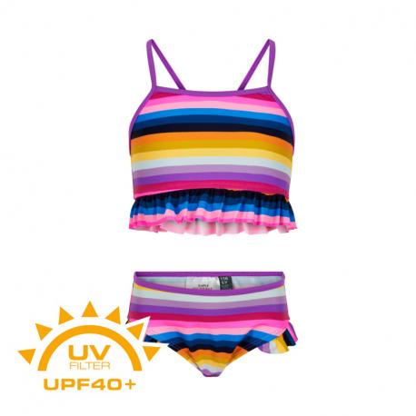 Dívčí plavky COLOR KIDS-Bikini w. Frills UPF 40+ Purple Cactus