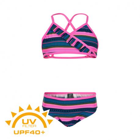 Dívčí plavky COLOR KIDS-Bikini AOP UPF 40+ Sugar Pink