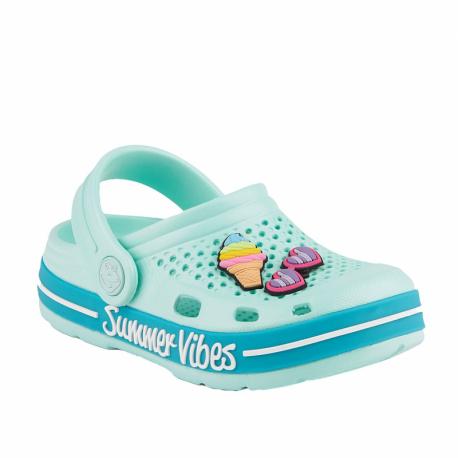 Dětské kroksy (rekreační obuv) COQUI-Lindo light mint / turquoise summer