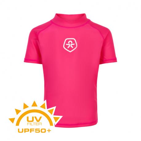 Dívčí triko na koupání COLOR KIDS-T-shirt solid UPF 50+ Pink Yarrow