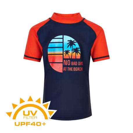 Chlapčenské tričko na kúpanie COLOR KIDS-T-shirt w. print UPF 40+ Dress Blues