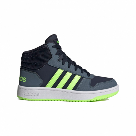 Juniorská rekreační obuv ADIDAS-Hoops Mid 2.0 legend ink / signal green