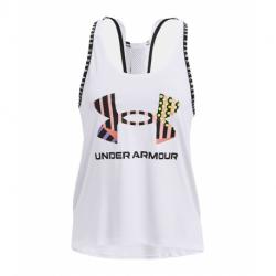 Dámske tréningové tielko UNDER ARMOUR-UA Geo Knockout Tank-WHT