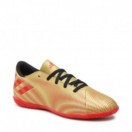 Juniorské kopačky halové ADIDAS-Nemeziz Messi.4 JR IC gold metallic / scarlet / core black