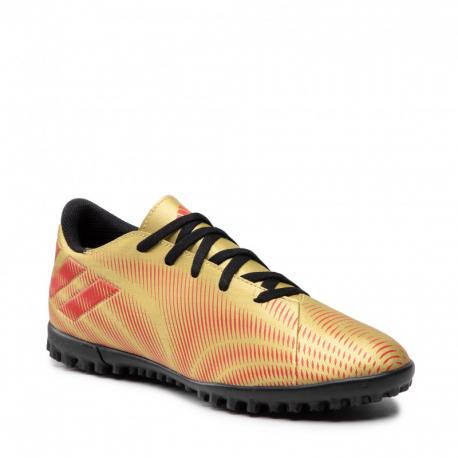 Juniorské futbalové kopačky turfy ADIDAS-Nemeziz Messi.4 JR TF gold metallic/scarlet/core black