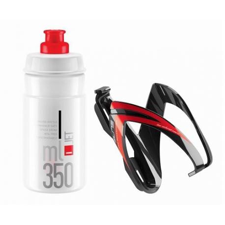 Cyklistická láhev ELITE-s košíkem set CEO červený