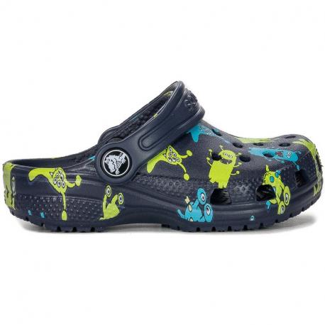Dětské kroksy (rekreační obuv) CROCS-Classic Monster Print Clog T navy