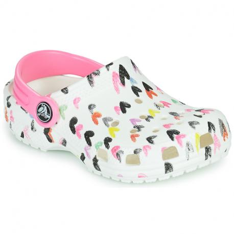 Dětské kroksy (rekreační obuv) CROCS-Classic Heart Print Clog K white