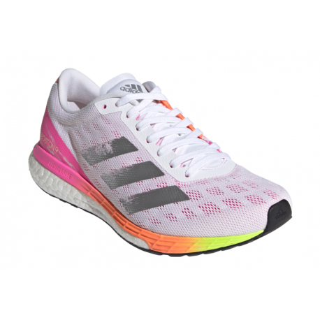 Dámská běžecká obuv ADIDAS-Adizero Boston 9 W cloud white / silver metallic / scream pink
