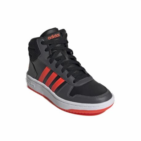 Juniorská rekreačná obuv ADIDAS-Hoops 2.0 Mid core black/solar red/grey six