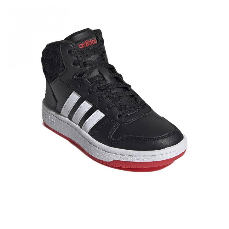 ADIDAS-Hoops 2.0 Mid core black/cloud white/vivid red 32 Čierna