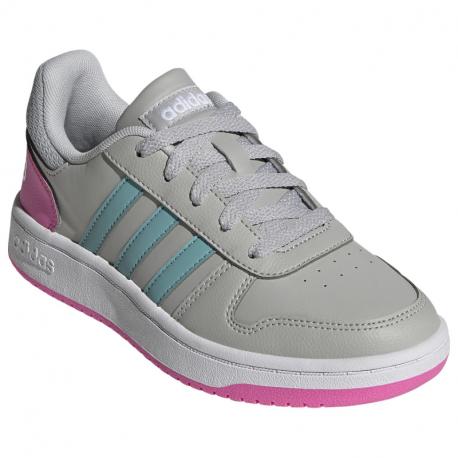Dětská rekreační obuv ADIDAS-Hoops 2.0 core grey two / mint tun / screaming pink