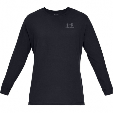 Pánske tréningové tričko s dlhým rukávom UNDER ARMOUR-UA SPORTSTYLE LEFT CHEST LS-BLK