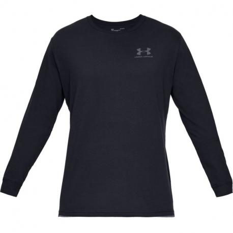 Pánské tréninkové triko s dlouhým rukávem UNDER ARMOUR-UA SPORTSTYLE LEFT CHEST LS-BLK