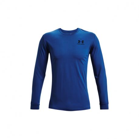 Pánské tréninkové triko s dlouhým rukávem UNDER ARMOUR-UA SPORTSTYLE LEFT CHEST LS-BLUE