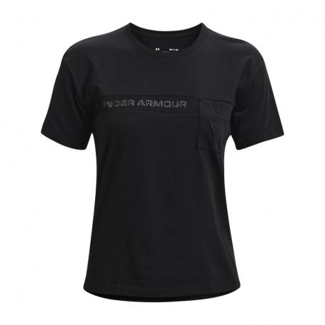 Dámske tréningové tričko s krátkym rukávom UNDER ARMOUR-Live Pocket Mesh Graphic SS-BLK