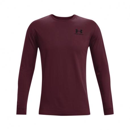 Pánske tréningové tričko s dlhým rukávom UNDER ARMOUR-UA SPORTSTYLE LEFT CHEST LS-RED DARK
