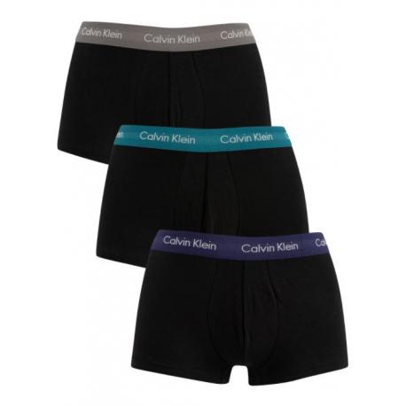 Pánské boxerky CALVIN KLEIN-CK LOW RISE TRUNKS-3 pack-Black-Blue, Black-Grey, Black-Gree