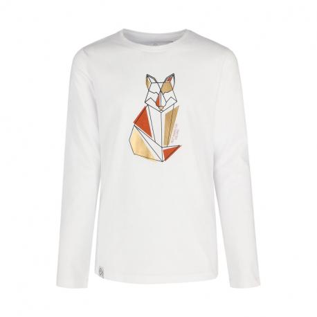 Dievčenské tričko s dlhým rukávom VOLCANO-LONG L-FOXI JUNIOR-100-WHITE