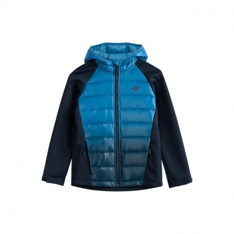 Chlapčenská turistická softshellová bunda 4F-BOYS SOFTSHELL JSFM002-31S-NAVY