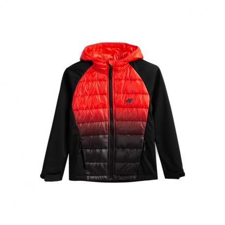 Chlapčenská turistická softshellová bunda 4F-BOYS SOFTSHELL JSFM002A-21S-BLACK