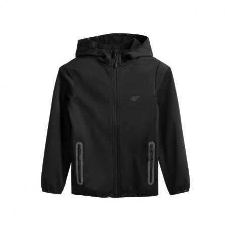Chlapčenská turistická softshellová bunda 4F-BOYS SOFTSHELL JSFM001A-20S-DEEP BLACK