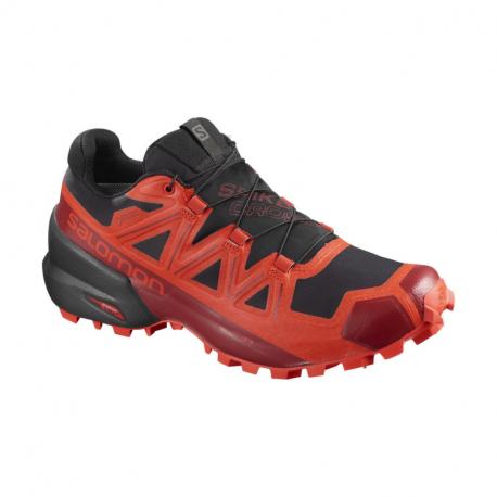Pánska bežecká trailová obuv SALOMON-Spikecross 5 GTX black/racing red/red dahlia (EX)